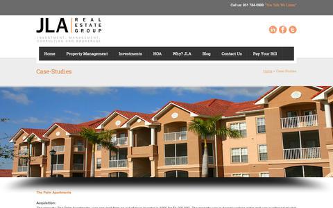 Screenshot of Case Studies Page jlareg.com - Case-Studies | JLA Real Estate Group – Real Estate Investment & Property Management - captured Oct. 4, 2014