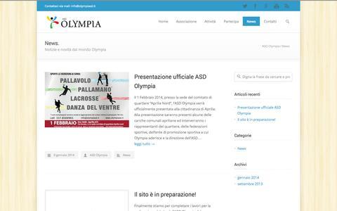 Screenshot of Press Page olympiasd.it - News - ASD Olympia - captured Oct. 4, 2014