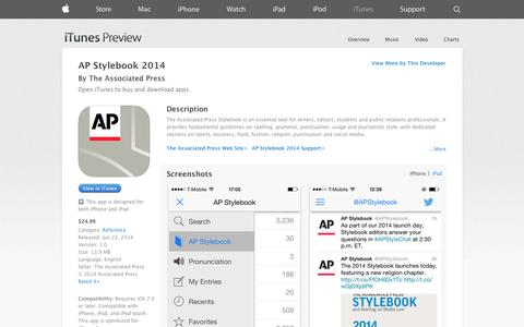 Screenshot of iOS App Page apple.com - AP Stylebook 2014 on the App Store on iTunes - captured Nov. 4, 2014