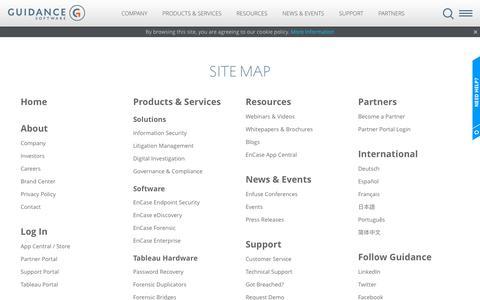 Screenshot of Site Map Page guidancesoftware.com - Guidance Software - Sitemap | Content Navigation - captured Nov. 10, 2015