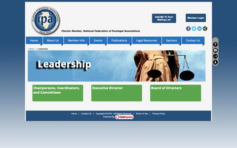 Screenshot of Team Page clubexpress.com - Leadership - Illinois Paralegal Association - captured Oct. 30, 2018