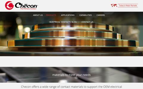 Screenshot of Products Page checon.com - Contact Materials | Contact Assemblies | Checon - captured Nov. 5, 2016
