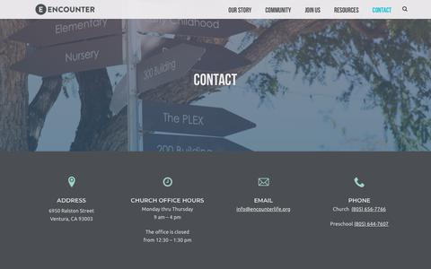 Screenshot of Contact Page encounterlife.org - Contact - ENCOUNTER - captured Sept. 26, 2018