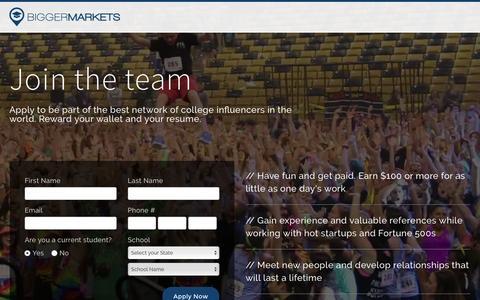 Screenshot of Jobs Page biggermarkets.com - Bigger Markets | Brand Ambassador Recruitment - captured Nov. 22, 2016