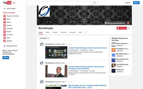 Screenshot of YouTube Page youtube.com - MyriadSupply  - YouTube - captured Oct. 26, 2014