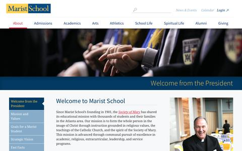 Screenshot of About Page marist.com - Welcome from the President - captured Oct. 17, 2017
