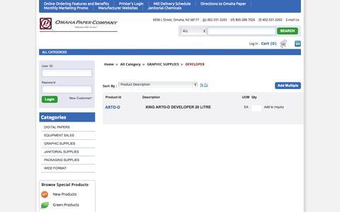 Screenshot of Developers Page omahapaper.com - Omaha Paper Company - captured Nov. 3, 2014