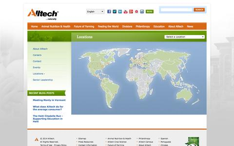 Screenshot of Locations Page alltech.com - Alltech - Animal Nutrition, Animal Feed Supplements, Animal Health - captured Sept. 23, 2014