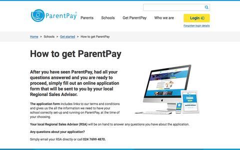 Screenshot of Signup Page parentpay.com - How to get ParentPay | Parentpay - captured Oct. 9, 2016