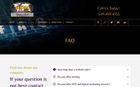 Screenshot of FAQ Page heartandsoulwebdesign.com - FAQ | Heart and Soul Web Design LLC | Tucson, AZ - captured July 18, 2018