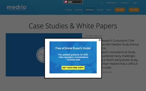Screenshot of Case Studies Page medrio.com - Medrio Case Studies and White Papers | Medrio - captured Oct. 2, 2019