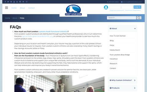 Screenshot of FAQ Page footlevelers.com - FAQs - Foot Levelers - captured Feb. 13, 2019