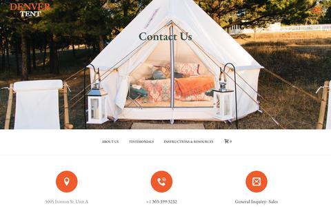 Screenshot of Contact Page denvertent.com - Contact Us with Questions & Info | Denver Tent Company - captured Nov. 13, 2018