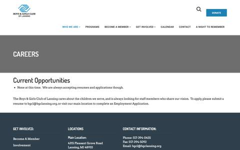 Screenshot of Jobs Page bgclansing.org - Careers – Boys and Girls Club of Lansing - captured Oct. 6, 2018