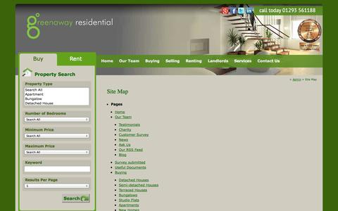 Screenshot of Site Map Page greenawayresidential.com - |  Site Map - captured Oct. 3, 2014