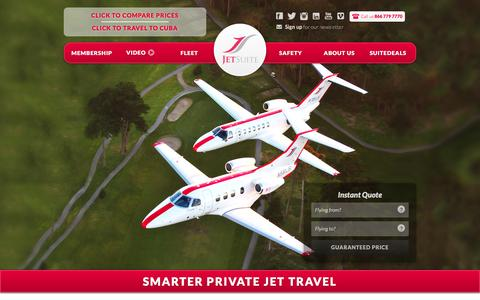 Screenshot of Home Page jetsuite.com - JetSuite | Private Jet Charter Flights – Private Jet Rental Service - captured Feb. 20, 2016