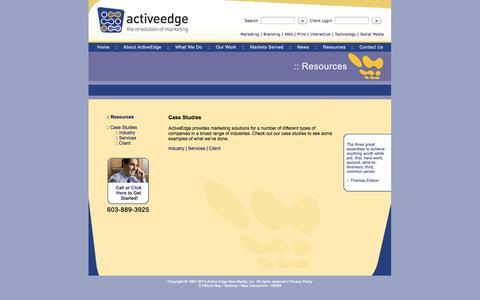 Screenshot of Case Studies Page activeedge.com - ActiveEdge Resources: Free Marketing Case Studies Nashua, NH - captured Sept. 30, 2014