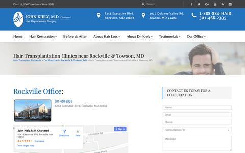 Screenshot of Contact Page Locations Page hairtransplantation.com - Hair Transplant Clinics in Maryland and Baltimore - captured Nov. 10, 2018