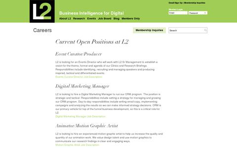 Screenshot of Jobs Page l2thinktank.com - Careers   L2: Business Intelligence for Digital - captured July 19, 2014