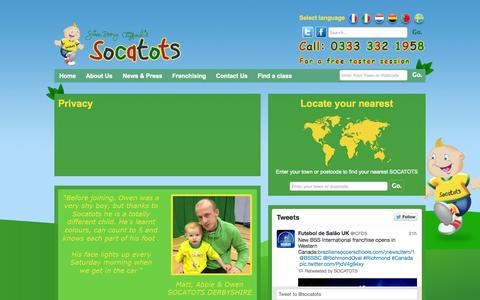 Screenshot of Privacy Page socatots.com - Privacy - socatots - captured Sept. 30, 2014