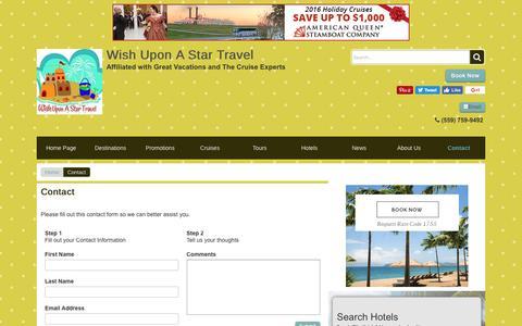 Screenshot of Contact Page wishuponastartravel.com - Contact | Wish Upon A Star Travel - captured Dec. 14, 2016