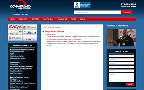Screenshot of Press Page convergedsystems.com - Avaya Press Release - captured Nov. 14, 2015