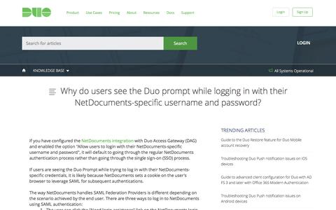 Why do users see the Duo prompt while logging in with their NetDocuments-specific username and password?
