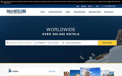 Screenshot of Home Page galahotels.com - GalaHotels Online Hotel Booking - captured Sept. 23, 2017