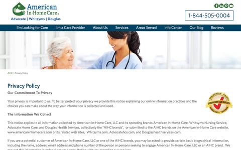 Screenshot of Privacy Page americaninhomecare.com - Private Home Healthcare Agencies, Live In Elderly Care - American In-Home Care - captured July 28, 2018