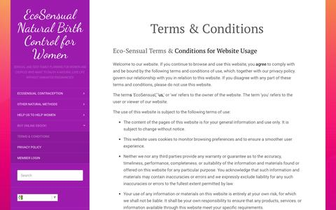Screenshot of Terms Page ecosensual.org - EcoSensual Birth Control Terms and Conditions - captured Oct. 24, 2016