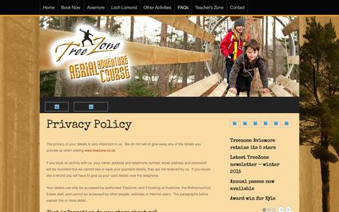 Screenshot of Privacy Page treezone.co.uk - Privacy Policy - captured Feb. 24, 2016