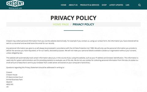 Screenshot of Privacy Page cresent.co.uk - Privacy Policy  |  Cresent - captured July 17, 2016