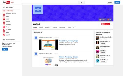 Screenshot of YouTube Page youtube.com - zaptext  - YouTube - captured Oct. 26, 2014