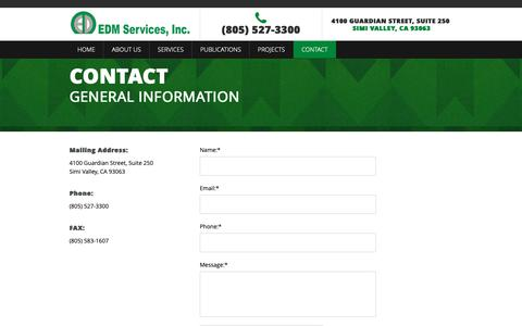 Screenshot of Contact Page edmsvc.com - Contact | EDM Services - captured Dec. 13, 2018