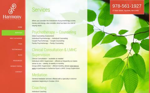 Screenshot of Services Page harmonycounseling.biz - Services | Harmony Counseling - captured Oct. 27, 2014