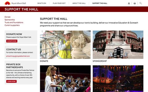 Screenshot of Support Page royalalberthall.com - Support the Hall — Royal Albert Hall - captured July 22, 2017