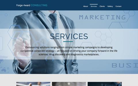Screenshot of Services Page forge4ward.com - forge4ward | Services - captured Aug. 19, 2018