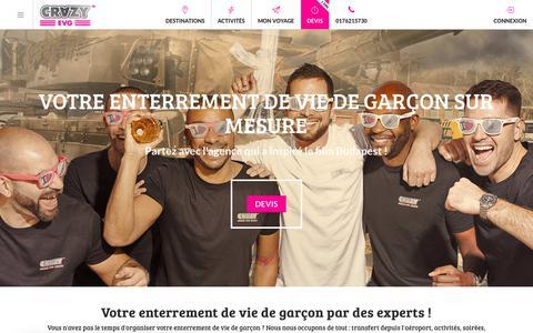 Screenshot of Home Page crazy-evg.com - Enterrement de vie de garçon : partez avec Crazy EVG ! 3000 idées d'activités - captured Sept. 22, 2018