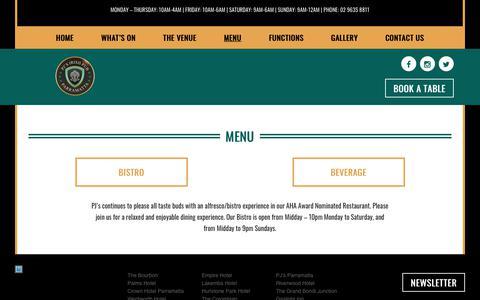 Screenshot of Menu Page pjsparramatta.com.au - Menu – PJ's Parramatta - captured Sept. 26, 2018