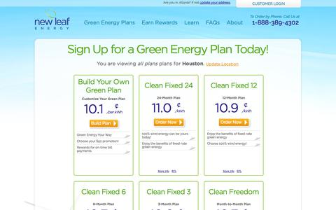 Screenshot of Signup Page newleafgreenenergy.com - Texas Green Energy Rates & Plans | New Leaf Energy - captured Oct. 26, 2014