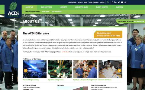 Screenshot of About Page acdi.com - Electronic Manufacturing Outsourcing Services and Solutions - captured Oct. 6, 2017