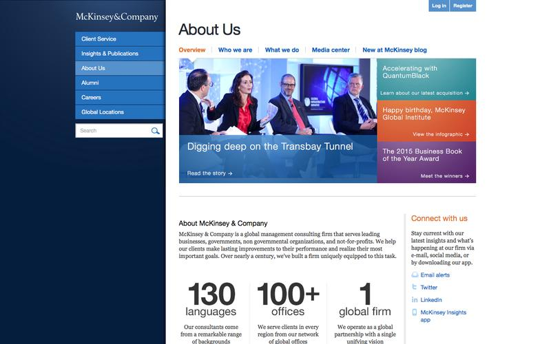 Screenshot About Us | McKinsey & Company