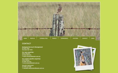 Screenshot of Contact Page ecosm.com.au - Ecological Survey & Management - captured Nov. 10, 2018