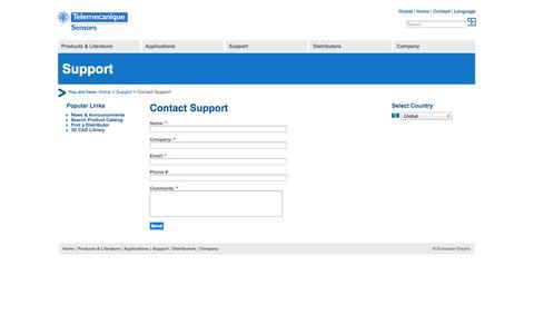 Screenshot of Support Page tesensors.com - Contact Support   Telemecanique Sensors - captured Oct. 26, 2014