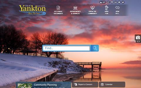 Screenshot of Home Page cityofyankton.org - City of Yankton, SD : Home - captured Jan. 7, 2016