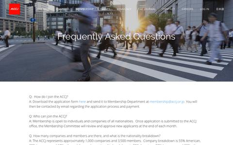 Screenshot of FAQ Page accj.or.jp - Frequently Asked Questions - The American Chamber of Commerce in Japan - captured Nov. 12, 2018