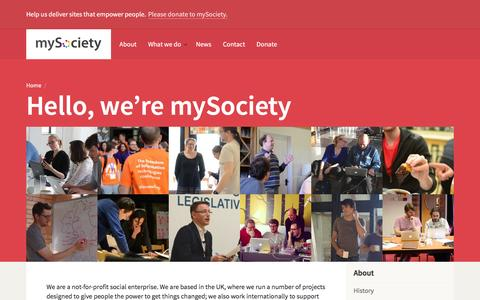 Screenshot of About Page mysociety.org - About / mySociety - captured Dec. 28, 2015
