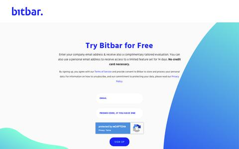 Screenshot of Signup Page bitbar.com - Try Bitbar for Free - Flexible cloud-based mobile app testing platform - captured May 2, 2019