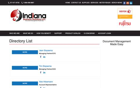 Screenshot of Team Page indybiz.net - Directory List | Indiana Business Solutions - captured Oct. 11, 2018