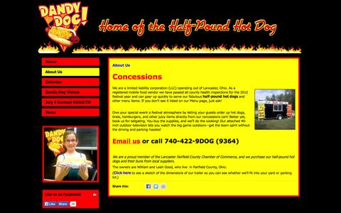Screenshot of About Page dandydogohio.com - About Us | Dandy Dog! - captured Oct. 5, 2014